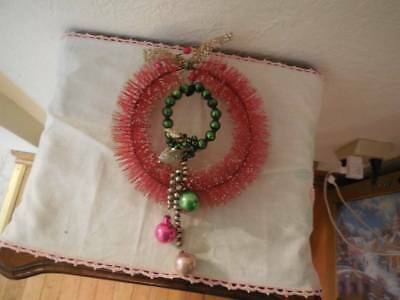 """Vintage Red Bottle Brush Christmas Wreath 8"""" With Mercury Glass Ornaments Beads"""