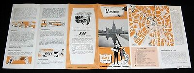 MOSCOW USSR ca 1959 SAS TRAVEL GUIDE BROCHURE & CITY MAP SCANDINAVIAN AIRLINES