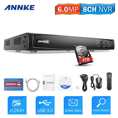 ANNKE 8CH 6MP NVR POE Surveillance Home Smart Search Network H.264+ Video System