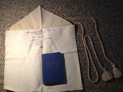 Vintage Masonic Apron 1931 & Text Book Lodges In West Virginia 22nd Edition 1939