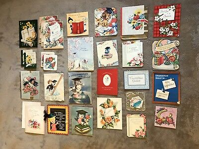 Vintage 1952 Graduation Cards Lot Of 30 Cards (USED)