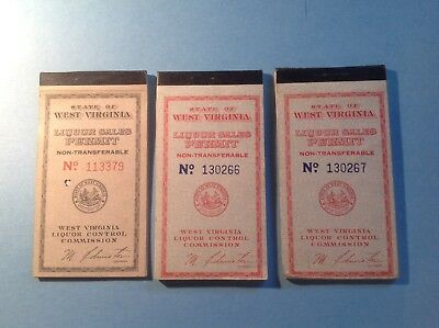 1940's 1950's 3 Books Of State Of West Virginia-Liquor Sales Permits