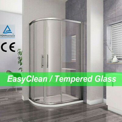 Aica Offset Quadrant Shower Enclosure and Tray Corner Cubicle Glass Door Screen