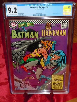 Brave and the Bold #70 CGC 9.2 (NM-) OW/W pages DC Comics 1967 Batman & Hawkman