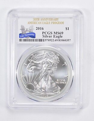 Graded - MS69 2016 Silver Eagle 30th Anniversary - Graded By PCGS *825
