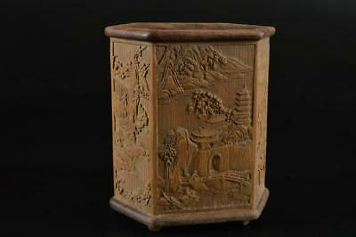 G1462: Chinese Bamboo Landscape sculpture BRUSH CASE/Hitto Calligraphy tool
