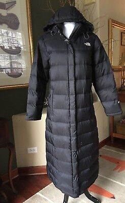 69beca2ddf The North Face Black Long 550 Down Filled Hooded Puffer Coat Jacket Parka L  FLAW