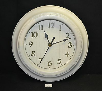 ThriftCHI ~ White Wooden Trim Wall Clock Battery Operated