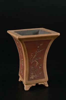 G1408: Chinese Brown pottery Bamboo Flower Poetry sculpture FLOWER POT basin