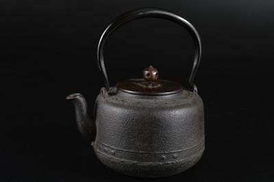G1526: Japanese Iron TEA KETTLE Teapot Tetsubin w/copper lid Tea Ceremony