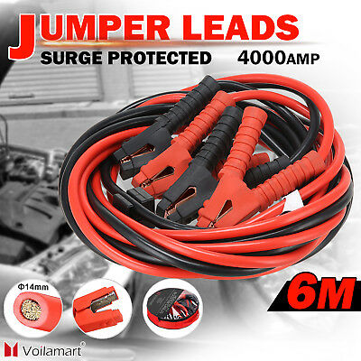 4000AMP Jumper Leads 6M Long Surge Protected Jump Car Booster Cables Heavy Duty