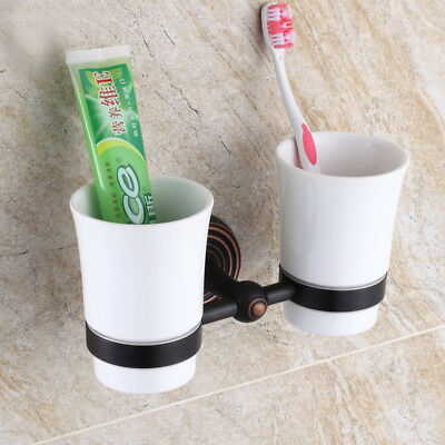 Oil Rubbed Brass Bathroom Ceramics Double Toothbrush Tumbler Holder Wall Mounted