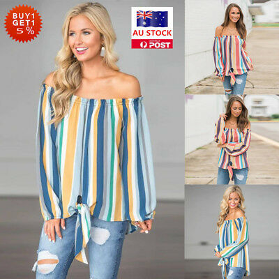 Women Off Shoulder Blouse Tops Ladies Long Sleeve Loose Casual Holiday T Shirt
