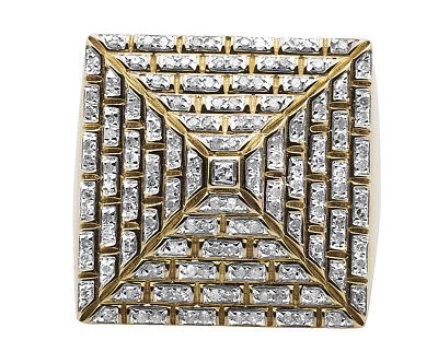 Men's 10K Yellow Gold Genuine Diamond 4-Sided Egyptian Pyramid Ring 1.0ct