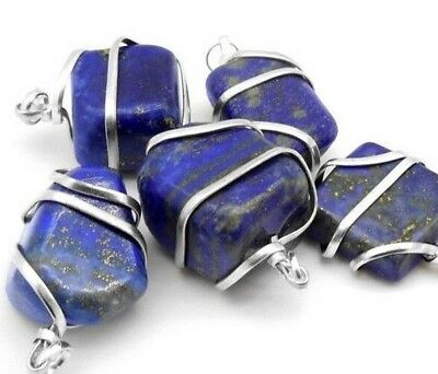 Blue Lapis Lazuli Silver Wire Wrap Pendant HANDMADE Stone Chakra Crystal Necklac