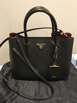 300c4aee403cce NEW Prada Saffiano Cuir Double Medium Tote Bag Black/Red with Matching  Wallet