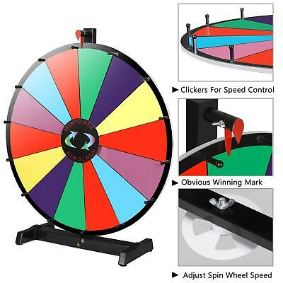 "24""Color Prize Wheel Fortune Detachable Stand Carnival Spinnig Game Dry Erasable"