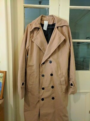 Mens Stylish Trench Coat Winter Long Jacket Double Breasted Overcoat.Costume. XL