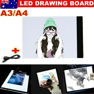 LED Tracing Light Box Board Art Tattoo A3 A4 Drawing Copy Pad Table +USB Cable