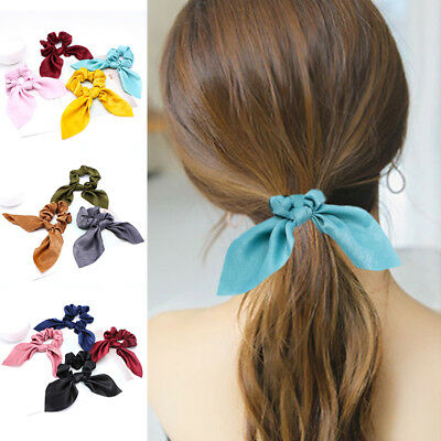Girl Adjustable Bow Knot Hair Rope Ring Tie Scrunchie Ponytail Holder Accessory.
