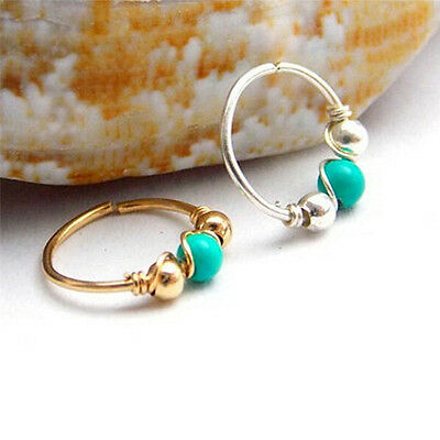 Stainless Steel Nose Ring Turquoise Nostril Hoop Nose Earring Piercing JewelryHA