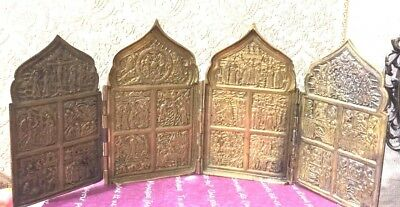 Antique Byzantium Russian Orthodox 4 Panel Copper Icon Great Feasts 18th century