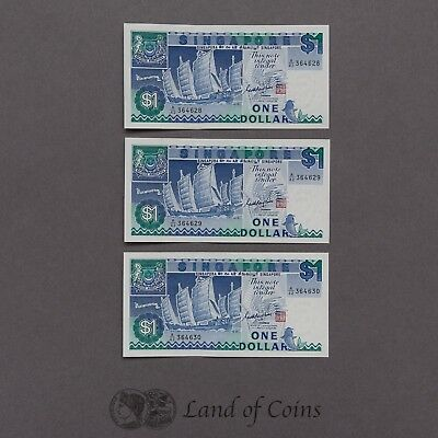 SINGAPORE: 4 x 1 Singapore Dollar Banknotes With Consecutive Serial Numbers.