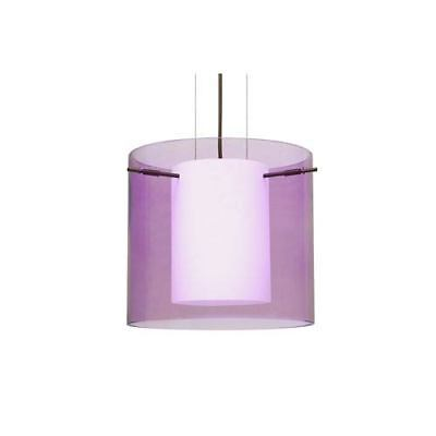 Pahu 12 Bronze One-Light LED Pendant with Transparent Amethyst Glass