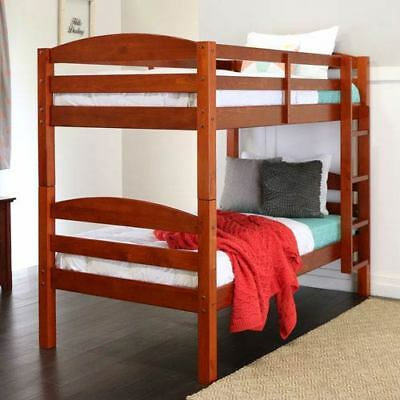 Walker Edison Furniture Co. Cherry Twin Solid Wood Double Bunk Bed - BWSTOTCH