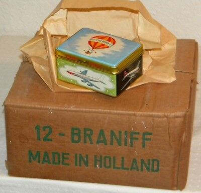 Vtg. NOS 1960's Braniff Airlines First Class Tin Gift Box - FULL CASE OF 12