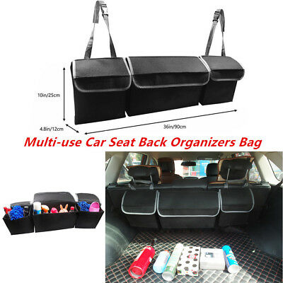 Black High Capacity Multi-use Car Truck Seat Back Cargo/ Trunk Organizers Bag 1X