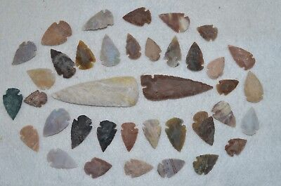 "38 PC Flint Arrowhead Ohio Collection Points 2-3"" Spear Bow Stone Hunting Blade"