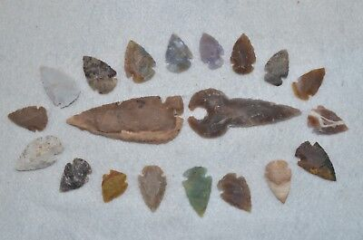 "20 PC Flint Arrowhead Ohio Collection Points 2-3"" Spear Bow Stone Hunting Blade"