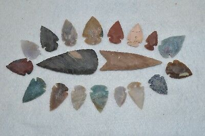 "19 PC Flint Arrowhead Ohio Collection Points 2-3"" Spear Bow Stone Hunting Blade"