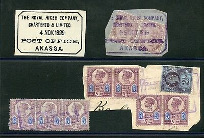 Niger Company Territoires Akassa 1889 cancellation' used on piece cat £970