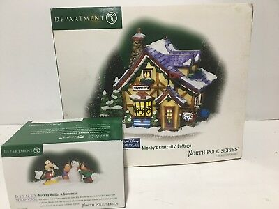 Dept 56 Mickey's Cratchit's Cottage North Pole + Mickey Builds A Snowman