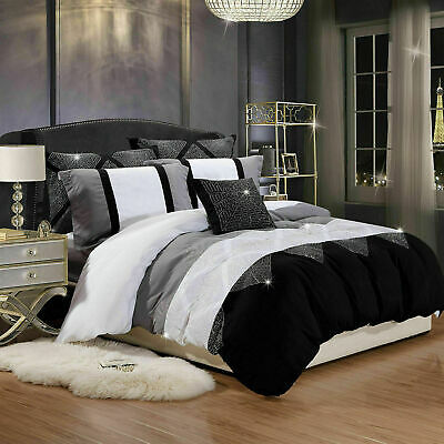 Black & White Cotton Blend Stripe Duvet Cover Set With Pillow Cases