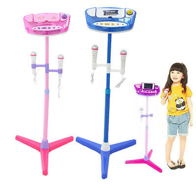 Music Play Toys Set Children Karaoke Machine With 2 Microphones Adjustable Stand