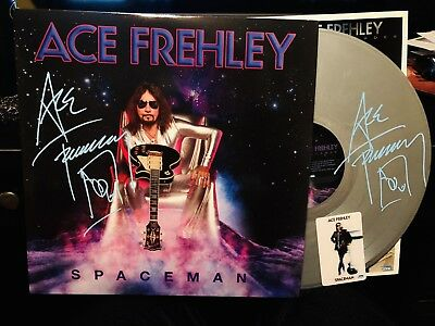 KISS ACE FREHLEY SPACEMAN SIGNED TWICE Silver Vinyl NYC