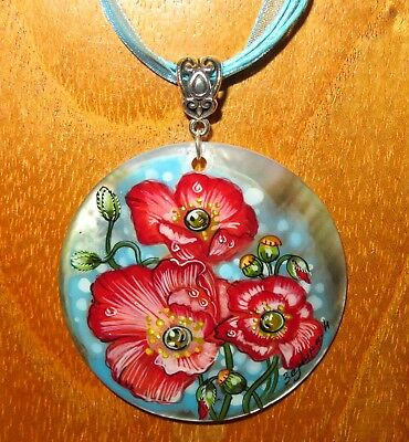 PENDANT RED POPPY FLOWERS on blue Russian hand painted Black Lip SHELL signed