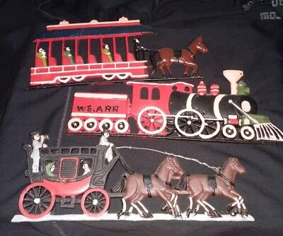 Cast Iron Wall Hangings Lot 3pcs  trains horse and buggy/carriage