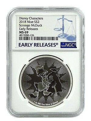 2018 Niue 1oz Silver Scrooge McDuck  NGC MS69 Early Releases