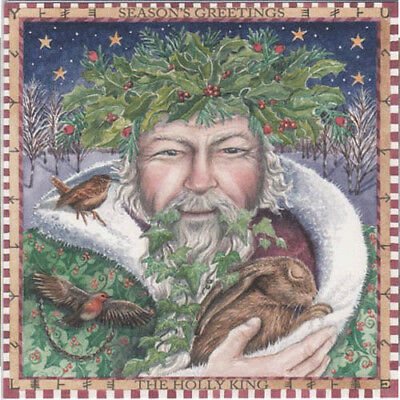 YULE CHRISTMAS GREETING CARD Holly King PAGAN HARE Robin SOLSTICE WENDY ANDREW