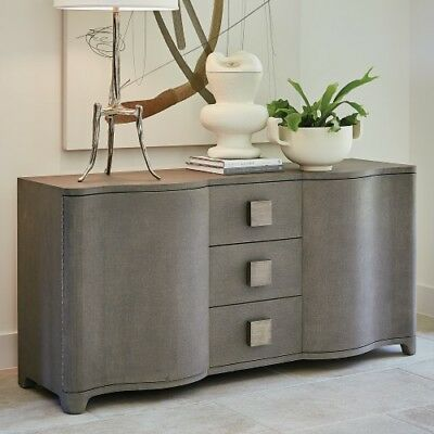 Linen Wrapped MidCentury Gray Console Cabinet | Shelves Drawers Fabric Silver