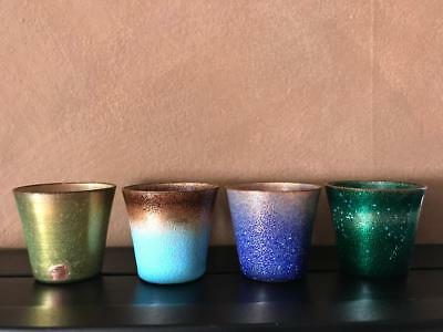 Set of (4) Signed Jade Snow Wong Enamel on Copper Cups