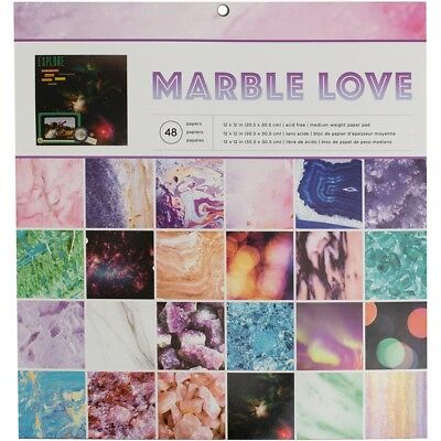 """American Crafts Single-sided Paper Pad 12""""x12"""" 48/pkg-marble Love, 24 Designs/2"""
