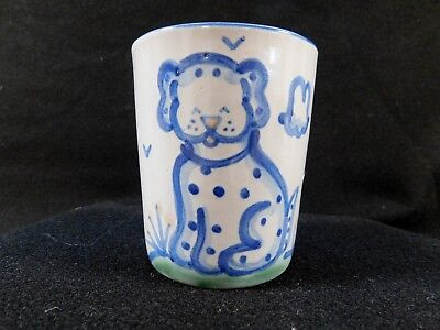 "M.a. Hadley Cup Julep Dog The End Inside 3 5/8"" Tall Juice Cup"