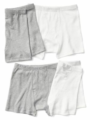 New Gap Kids 4 Pack Boxer Briefs Underwear 6 7 8 10 12 14 NWT White Gray Boys