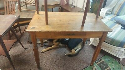 ANTIQUE 1800s PRIMITIVE COUNTRY KITCHEN FARM TABLE FURNITURE WITH ONE DRAWER