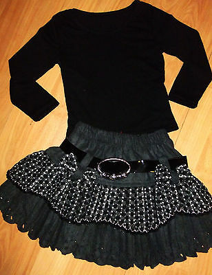 GIRLS BLACK TOP & GREY CHECK WEAVE PATTERN BOW TRIM RUFFLE PARTY SKIRT age 5-6